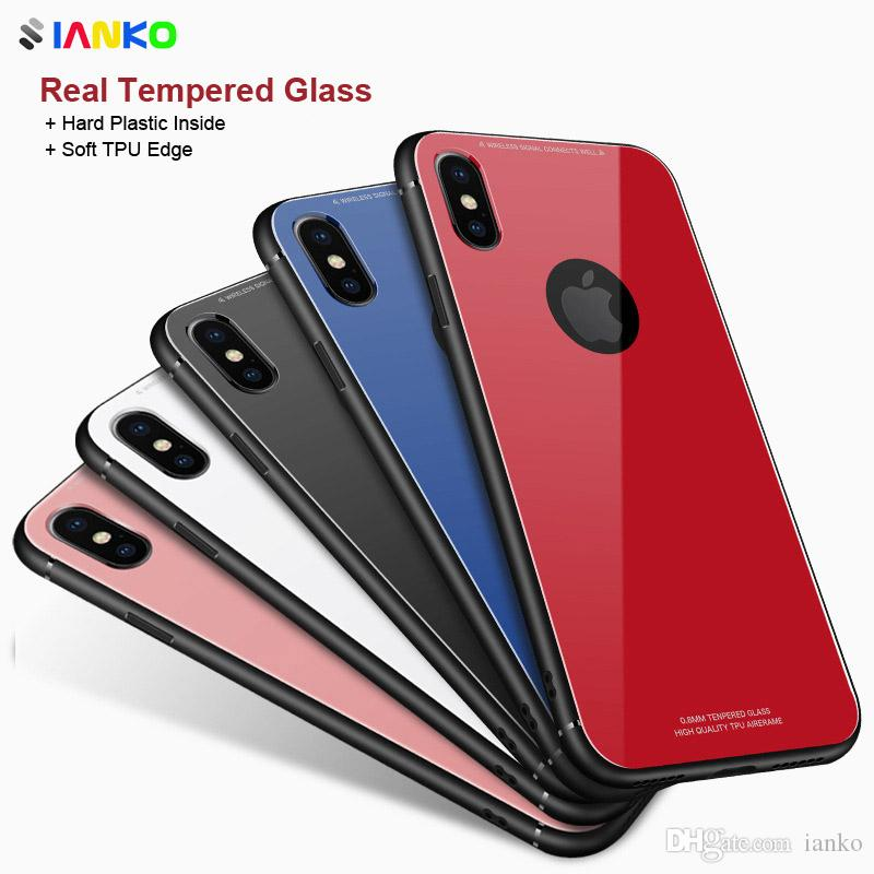 Luxury Tempered Glass Case For iPhone X Bumper Silicone TPU Edge Material Back Cover For iPhone 8 7 6 6S Plus