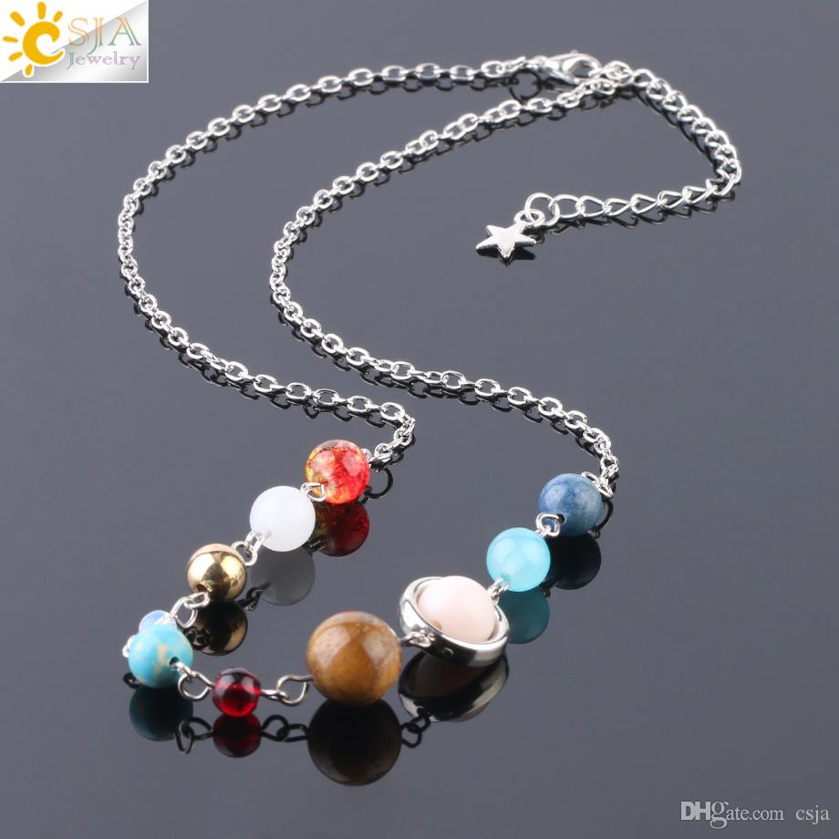 CSJA Solar System Planets Choker for Women Fashion Silver Chain Short Statement Necklace Natural Gemstone Universe Galaxy Beads Collar S238
