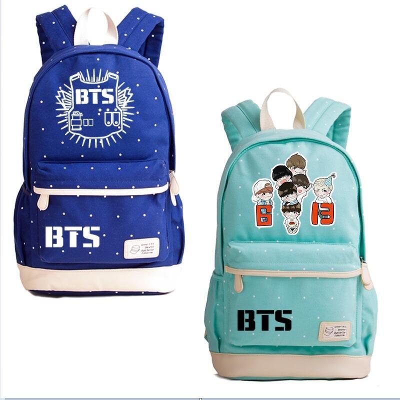 BTS ظهره Bangtan بنين قماش حقيبة المدرسة المراهقين جودة عالية حقائب الكمبيوتر المحمول الفتيان والفتيات السفر حقائب حقائب الأنثوية