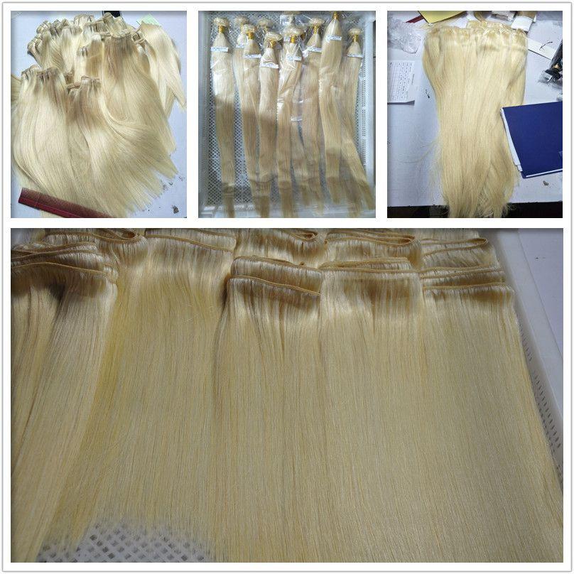 Elibess Marca Loiro Cor 613 # Silk Wave Liso Cabelo Humano Pacotes 6Pcs Lot peruana Virgin cabelo humano tece extensões de entrega rápida