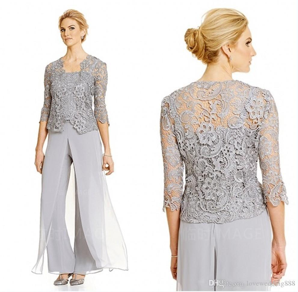 New 2018 Mother of the Bride Dresses Pant Suits with Lace 3/4 Long Sleeves Jacket Evening Party Gowns