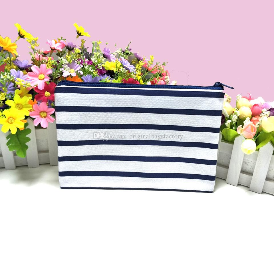 50pcs/lot black/navy white stripe coin purse with zip 6*9in canvas stripe zip pouch