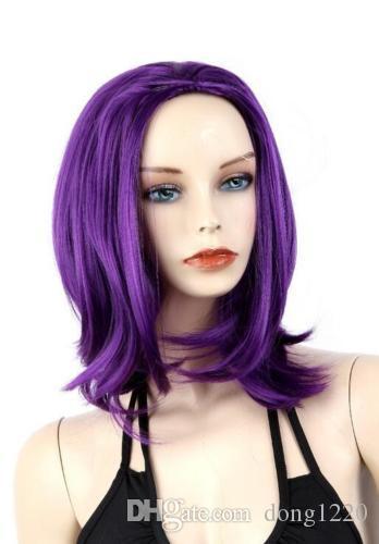 Ly CS ucuz satış dans partisi cosplaysNew Kadınlar Düz Cospaly Kısa Sentetik Saç Tam Peruk Düz Mor Peruk