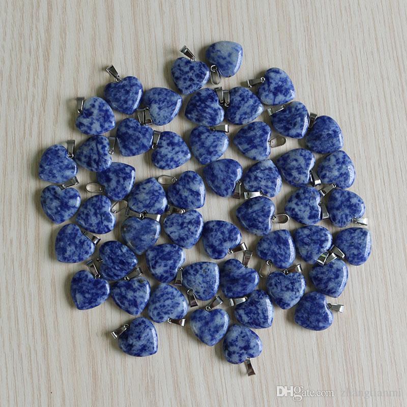 Encantos al por mayor Moda Sodalita natural piedra amor forma de corazón cuentas de piedra Colgantes para la joyería que hace 20mm Envío gratis
