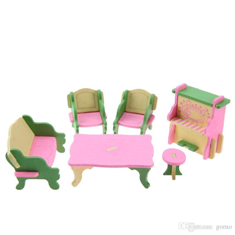 Mini muebles de madera de juguete DIY Mini muebles de simulación Dollshouse establece educativo Pretend Play Toys Doll Accessories