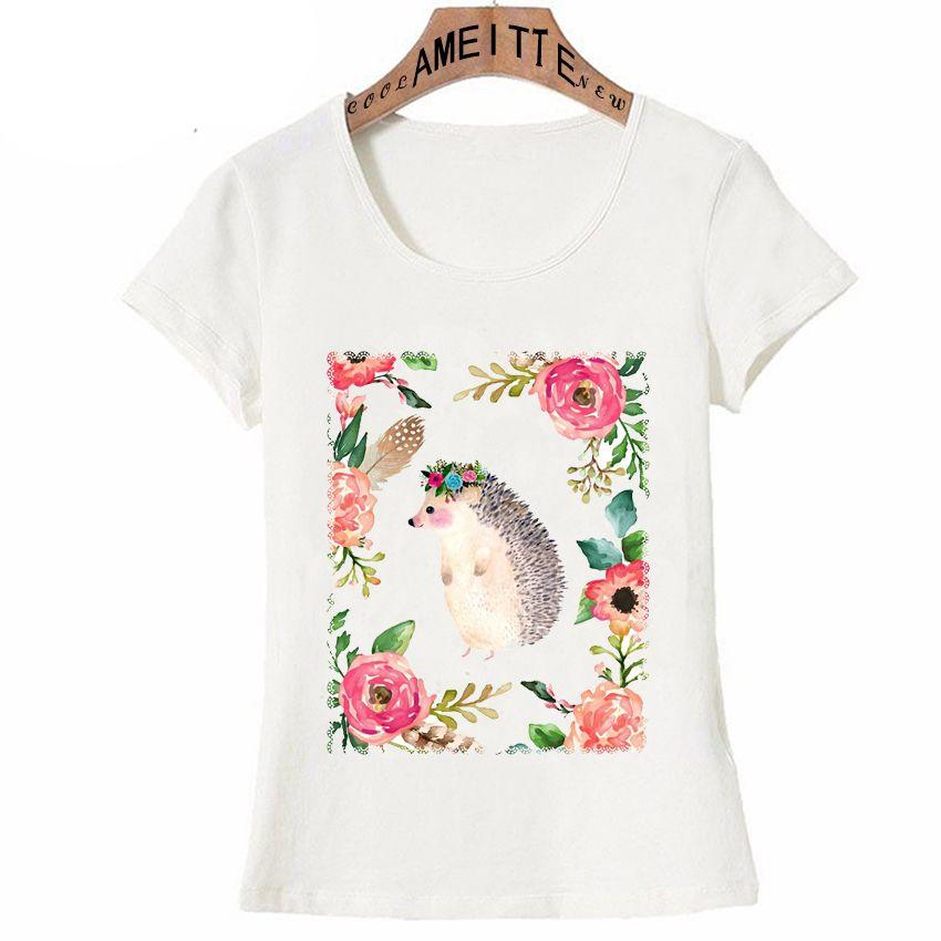 Beautiful Hedgehog with Flower Crown Art Print T-shirt 2019 New Summer Women T-Shirt Girl Casual Tees Fashion Woman Tops