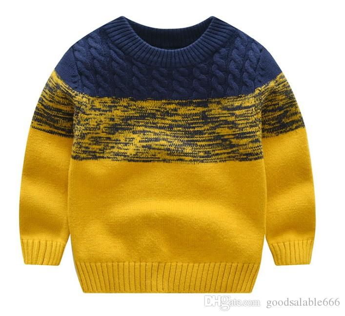 Kids Winter Warm Knitted Pullover Sweaters Boy Christmas Outwear Children  Simple Twist Knitted Sweater Long Sleeve O Neck Pullovers110 150CM Knitting