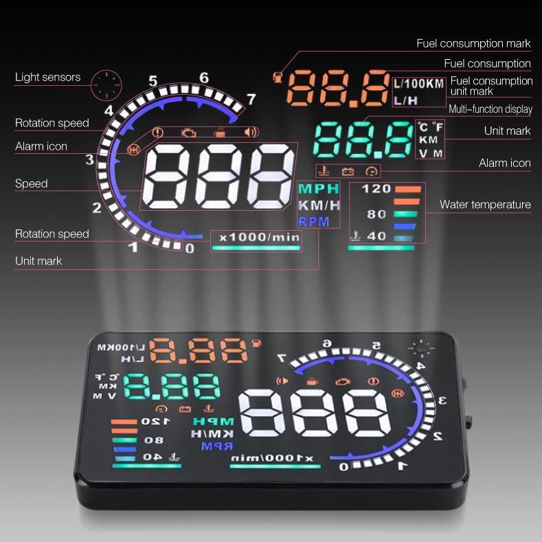 """5.5 """"araç güvenliği sürüş HUD OBD2 kafa up ekran projektör ultra clear ekran İşlevli karartma fonksiyonu yakıt tüketimi"""