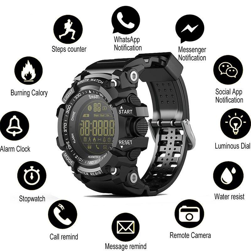 SOVO SG10 Bluetooth Horloge EX16 intelligent Regarder la notification à distance Contrôle Podomètre Sport Montre étanche IP67 Montre Homme