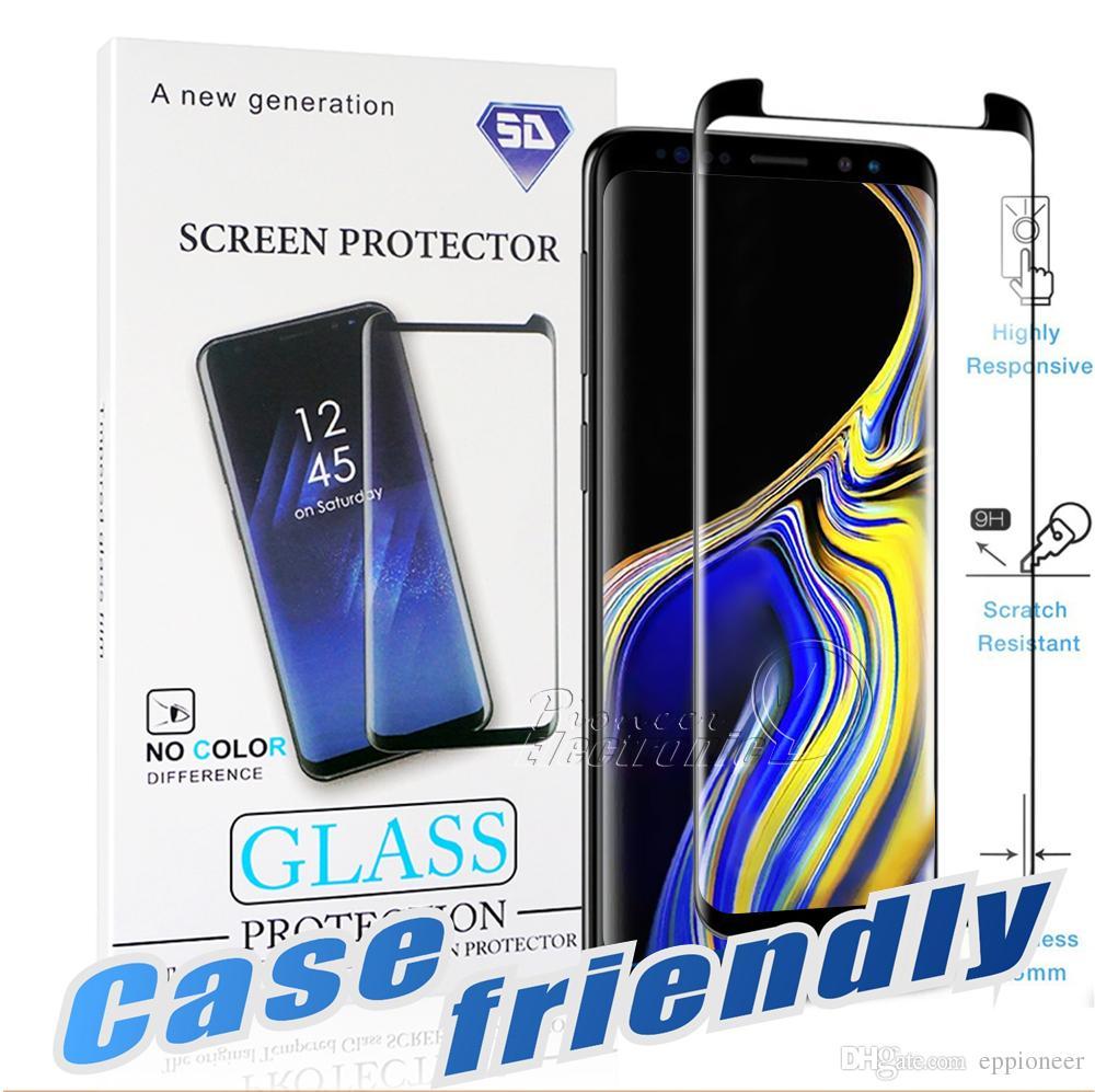 Дело Дружественные Для S10 5G Samsung Galaxy S10 S9 S8 Примечание 10 Plus Примечание 9 8 S7 S6 Край 3D Curve Край HD Clear закаленное стекло Screen Protector