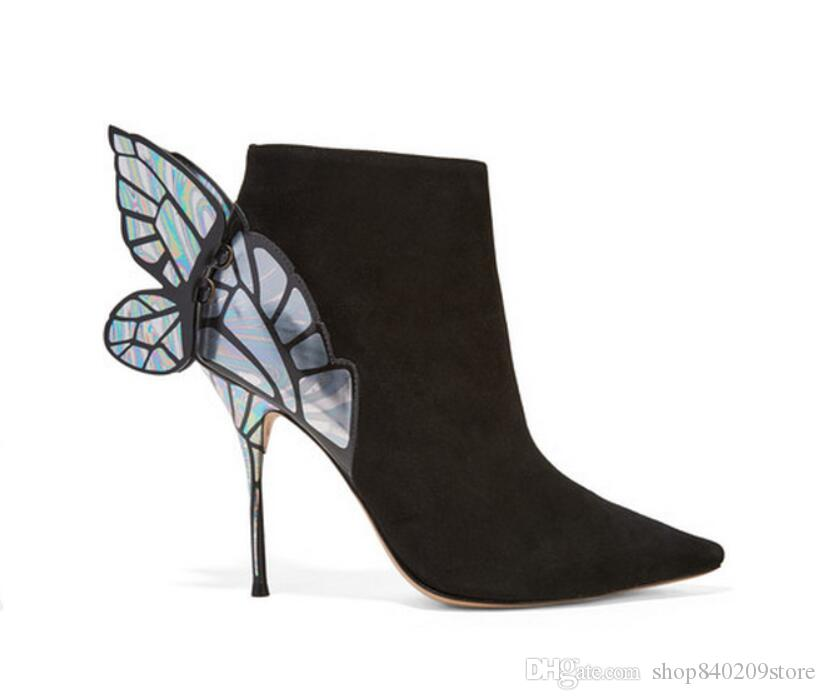 2018 Fashions Stivaletti Donna Sexy Dream Butterfly Wings Tacchi alti Donna Stivaletti Stivali alla caviglia in pelle a punta