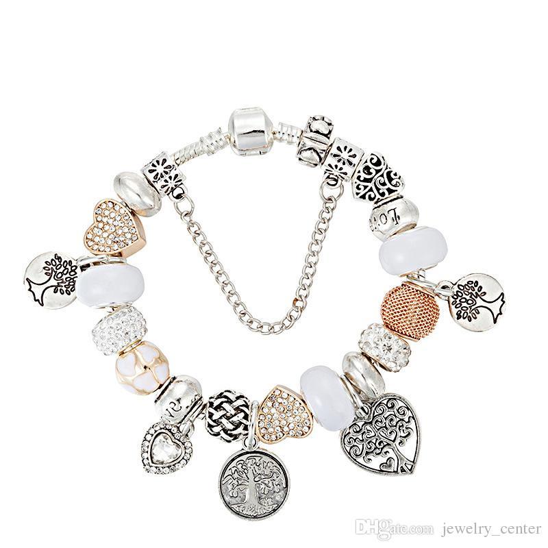 925 Ayar Gümüş kaplama Boncuk hayat Ağacı Kolye Charms Pandora Charm Bilezik Bileklik DIY Takı Kadınlar için Hediye