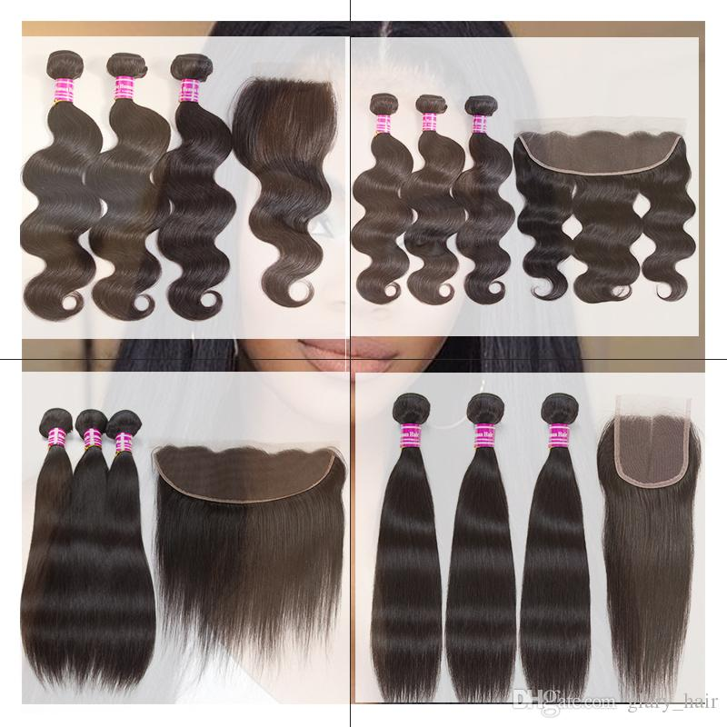 hot sale brazilian virgin hair 3 bundles with 13x4 lace frontal ear to ear or 4x4 lace closure weave closure