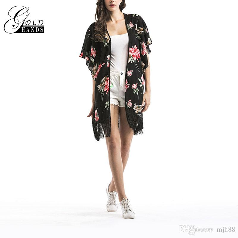 low priced 1609f d546f Acquista GoldHands Women Chiffon Vintage Sun Shirt Shirt Top Summer  Cardigan Fashion Sexy Trasparente Motivo Floreale Camicia Nappe Punto A  $20.79 Dal ...
