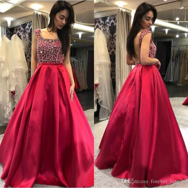 Luxury A-line Prom Dresses Beaded Sequins Crystals Top Square Neck Sleeveless Backless Floor Length Evening Party Gowns Custom Made