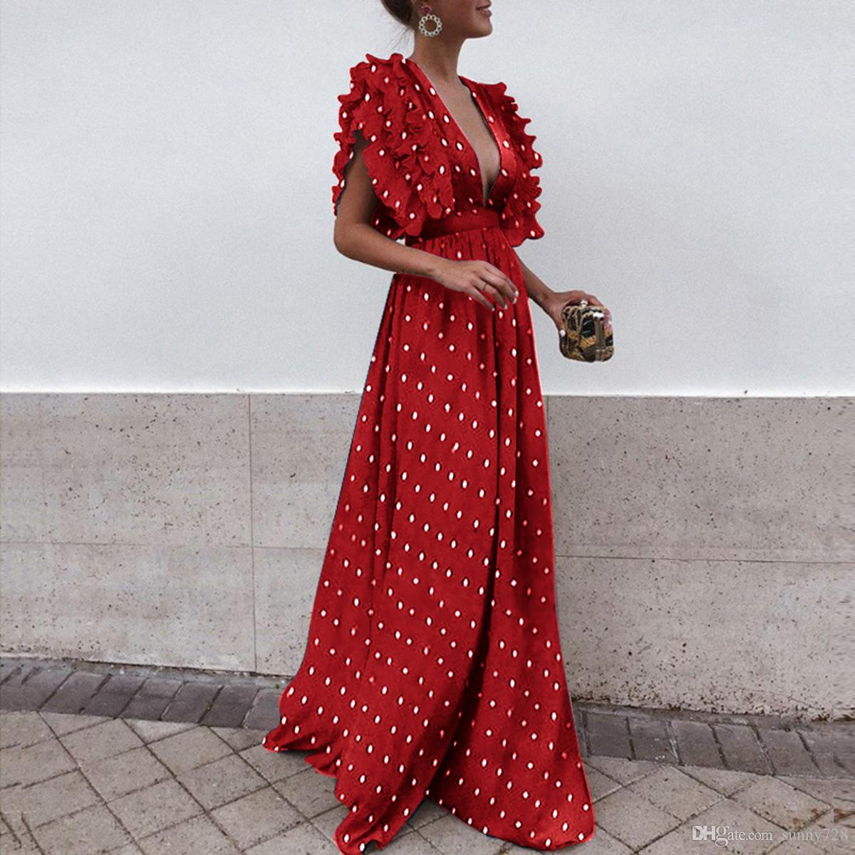 Dot Printed Pleat Cap Sleeves Long Women Party Evening Dresses 2019 New Sexy Deep v Neck A line Floor Length Fashion Women Casual Dress
