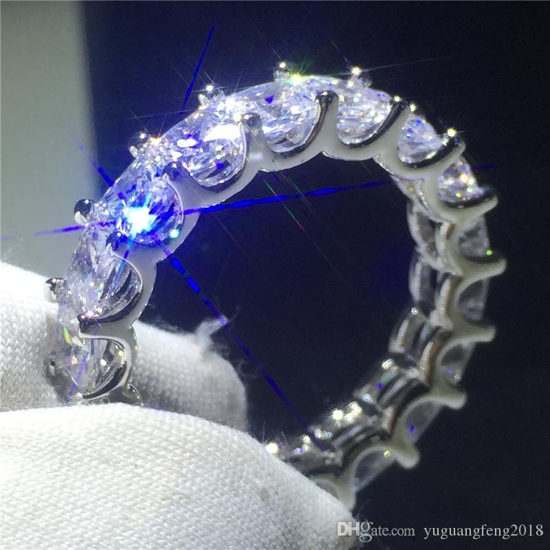 Promise Parmak Yüzük 925 ayar Gümüş 4mm 5A Zirkon Sona cz Kadınlar Için Nişan Düğün Band Yüzükler erkekler Takı