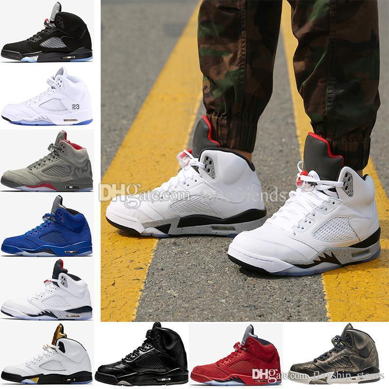 Premium Heiress Metallic Field 5 Mens Basketball Shoes 5S V Blue Red suede Olympic Cement white Bordeaux Triple Black Oreo Camo US8-13