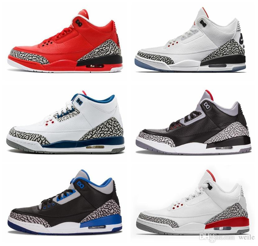 competitive price 841a6 b3eec 2019 2018 Black White Cement 3s Basketball Shoes Tinker Fire Red Infrared  23 Wolf Grey Grateful Katrina Red Men Shoe Sports Sneakers Size 8 13 From  ...