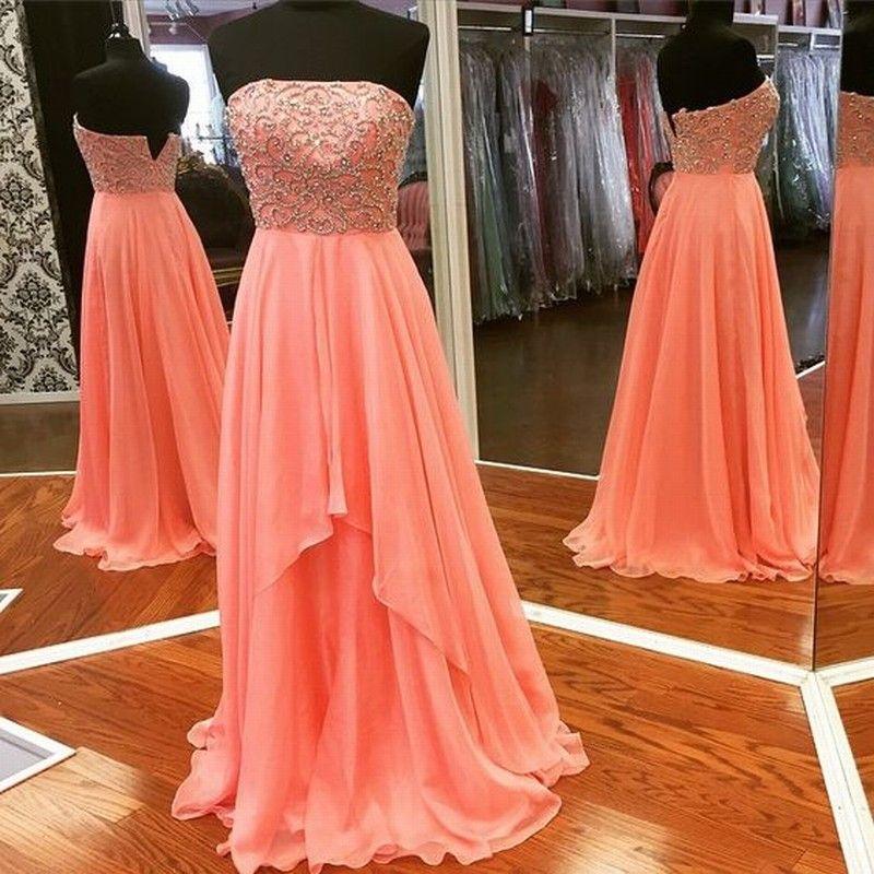 Naranja gasa una línea que rebordea el desfile de vestidos de noche Vestido de novia sin tirantes de las mujeres ocasión especial Prom vestido de fiesta de dama de honor 17LF721