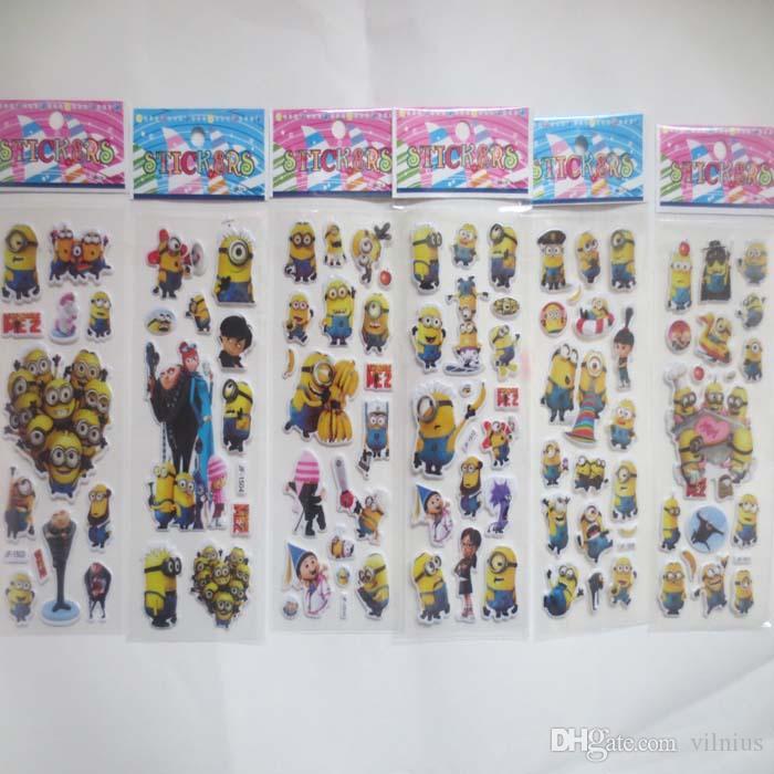 100 ورقة / الكثير 3d الكرتون فقاعة ملصقا من الحقير Me2 منتفخ ملصقات للطفل هدية عيد الاطفال اللعب الكلاسيكية ملصقا