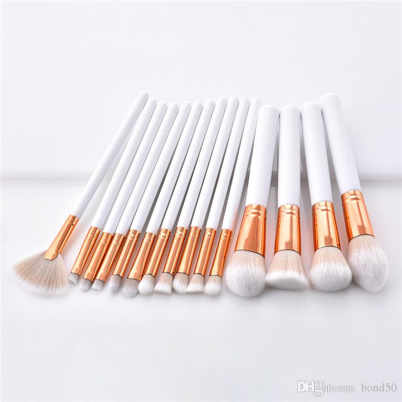 15 pçs / set Kit Pincel De Maquiagem Ouro branco Fundação Blush Em Pó Mistura Sobrancelha Cosméticos Make Up Brushes Sombra do Ventilador Do Pincel DHL T15007