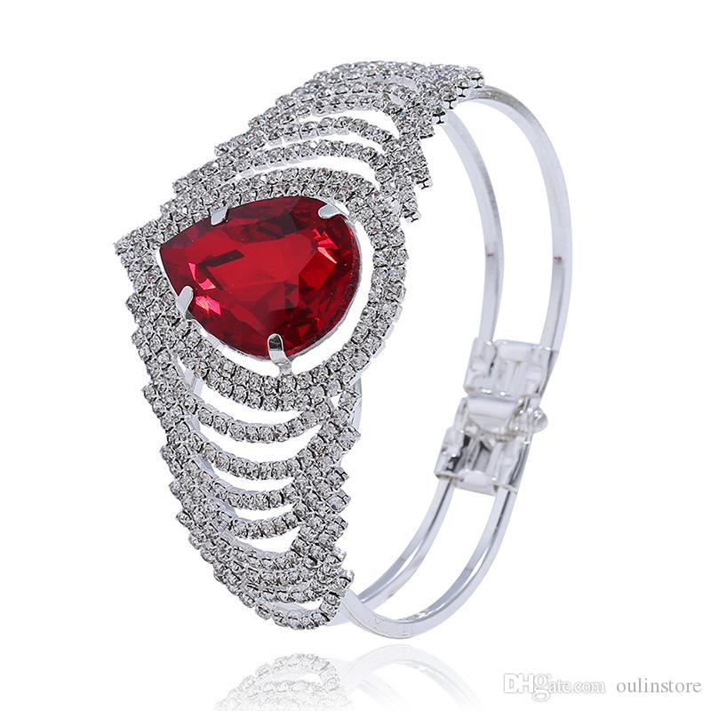 Luxury Red Crystal Rhinestone Water Drop Crown Bangles Hollow Bracelets Wedding Party Bridal Bracelet Women Jewelry Accessory