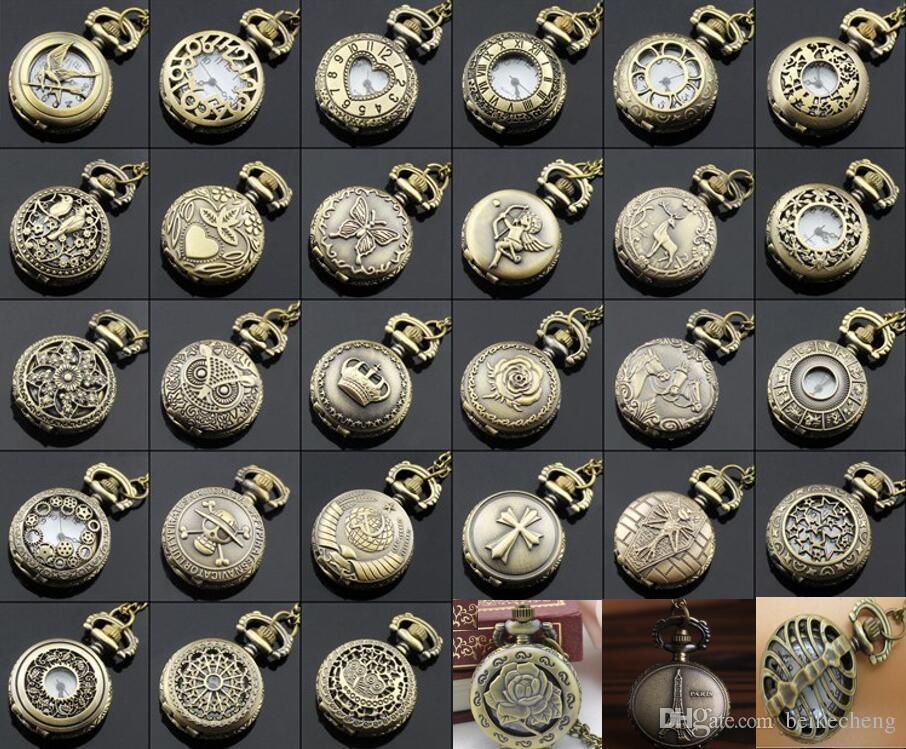 En gros 100 pcs / lot Mix 30 Designs Cas Dia 2.5 CM Pendentif Chaîne Quartz Bronze Petite Couronne Montre Montre de Poche PW048