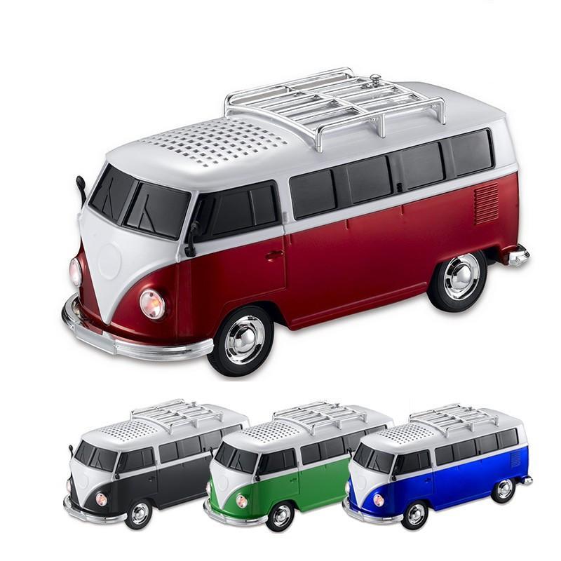 2pcs/lot Christmas gift High quality colorful mini speaker car shape mini bus speaker support FM +U disk Insert Card mini speaker MP3 player