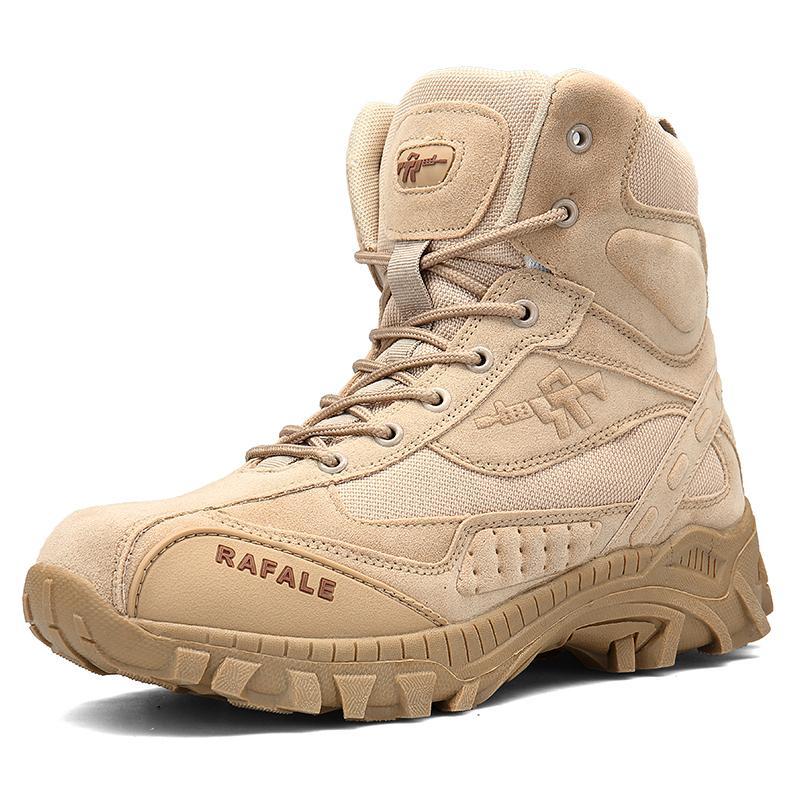 التكتيكية العسكرية القتالية أحذية الرجال جلد طبيعي لنا الجيش الصيد الرحلات التخييم تسلق الجبال الشتاء الأحذية السوداء