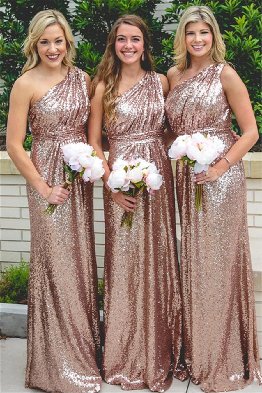 Großhandel Lange Pailletten Rose Gold Brautjungfer Kleider Pailletten One  Shoulder Plus Size Hochzeitsgast Kleider Arabisch Trauzeugin Kleider