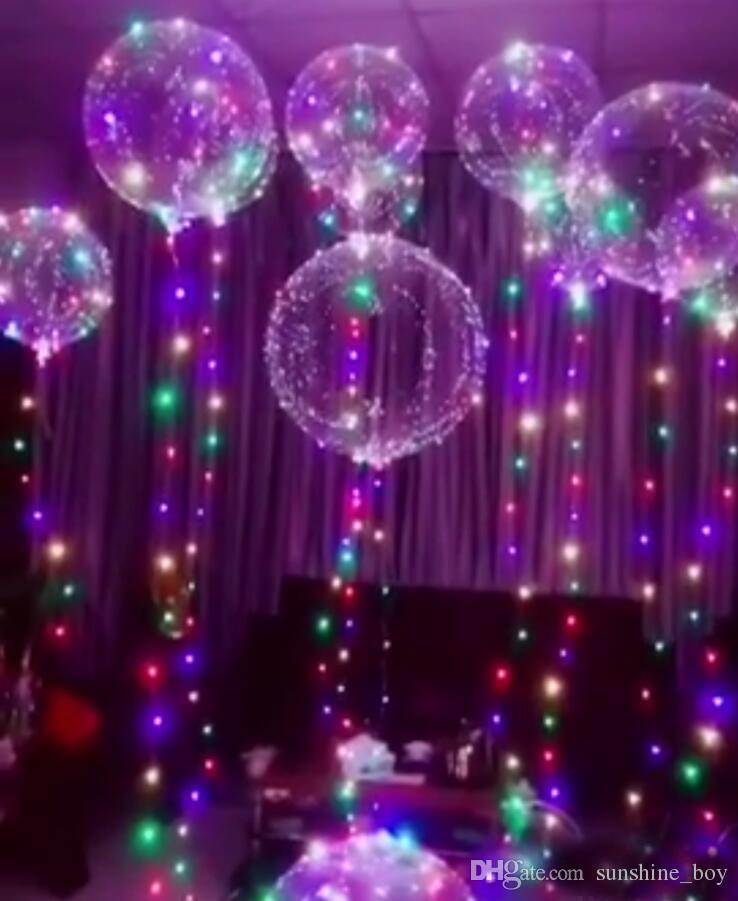 Luminous Led Balloon Colorful Transparent Round Bubble Decoration Party  Wedding Balloons Lighting In Dark 3M String Birthday Party Themes For Kids