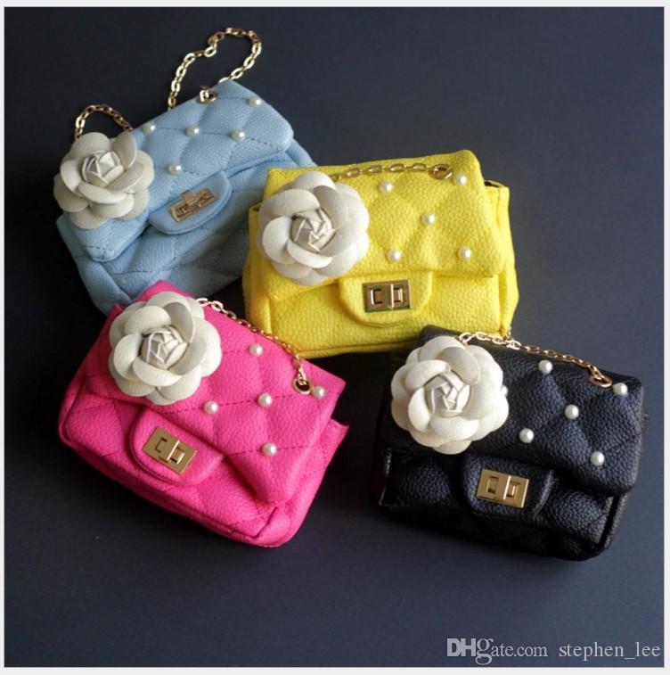 Detaliczna Moda Baby Girls Księżniczka Torby Kwiat Moda Pearl Children Chain One-Ramię Torba Dzieci Dziewczyna Plecaki Coin Opiekun