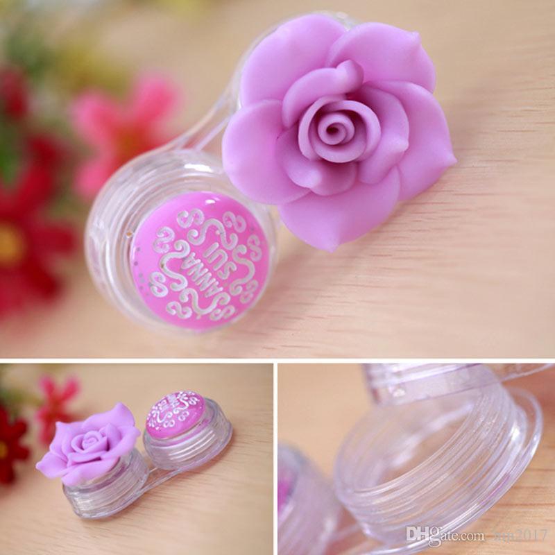 (10 adet) DIY lüks gül kontakt lens çantası kadınlar için plastik güzellik camellia lens kutusu kontakt lens kutusu