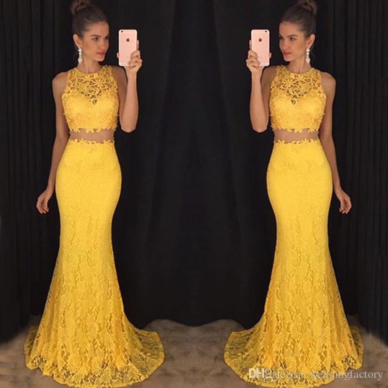 Vintage spets två bitar formella klänningar kvällsklänningar ren juvel nacke ärmlös sjöjungfru gul påsklilja prom klänningar billig hög kvalitet