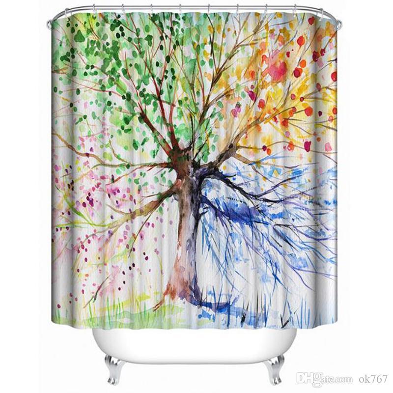 페인트 바나나 잎 여러 가지 빛깔의 트리 3D 디지털 인쇄 방수 샤워 커튼 플라스틱 후크 폴리 에스터 샤워 커튼