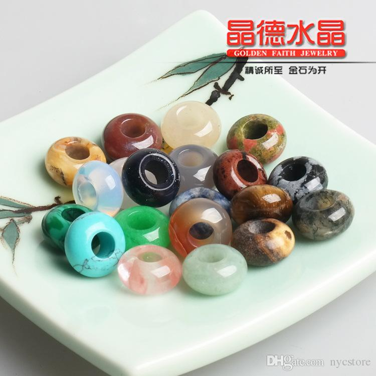 Round Gemstone Jewelry Natural Stone Large Hole Count Beads 10mm * 4mm Necklace Pendants