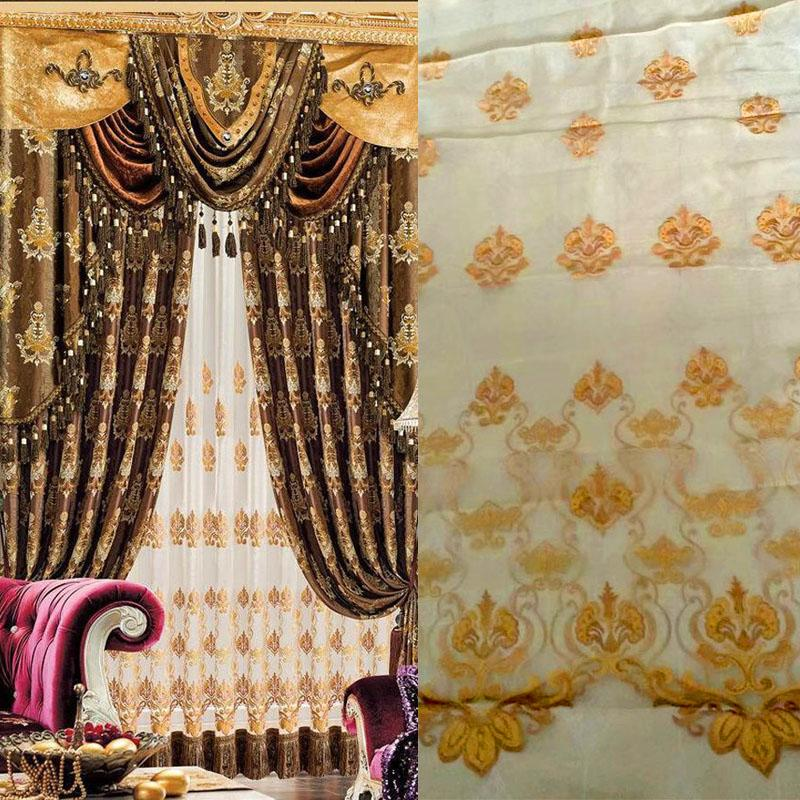 tulle curtain firany Jacquard Gold balcony Romantic tull Golden Voile Transparent lace curtains tulle window curtain living room