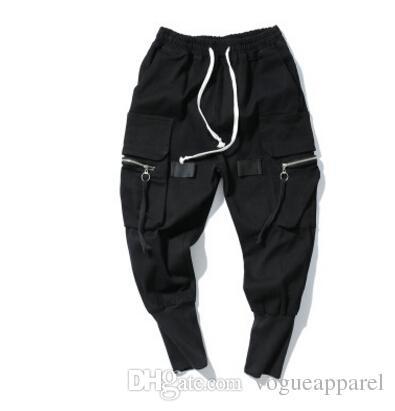 TKPA Mens Harem Pants Black Pockets Design Biker Pants Sports Pencil Pants Long Joggers Trousers
