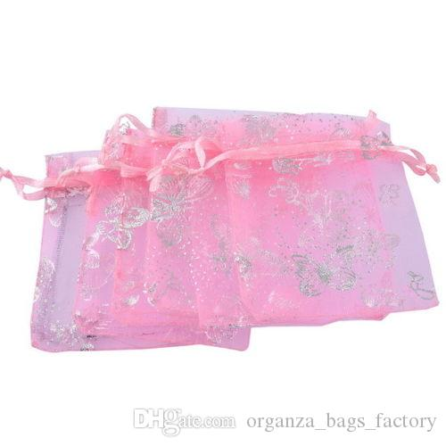 100PCS/LOT PINK Organza Wedding Party Favor Decoration Gift BUTTERFLY Bags Pouches