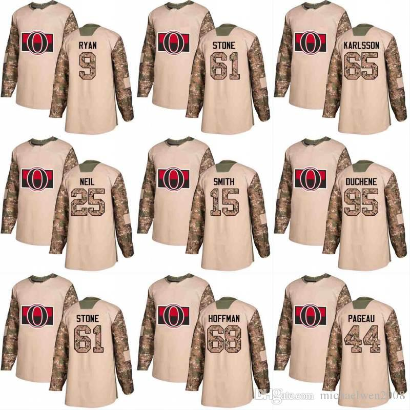 2018 Camo Veterans Day 40 가브리엘 뒤몽 18 Ryan Dzingel 10 Tom Pyatt 15 Zack Smith 오타와 상원 의원 Custom Hockey Jerseys
