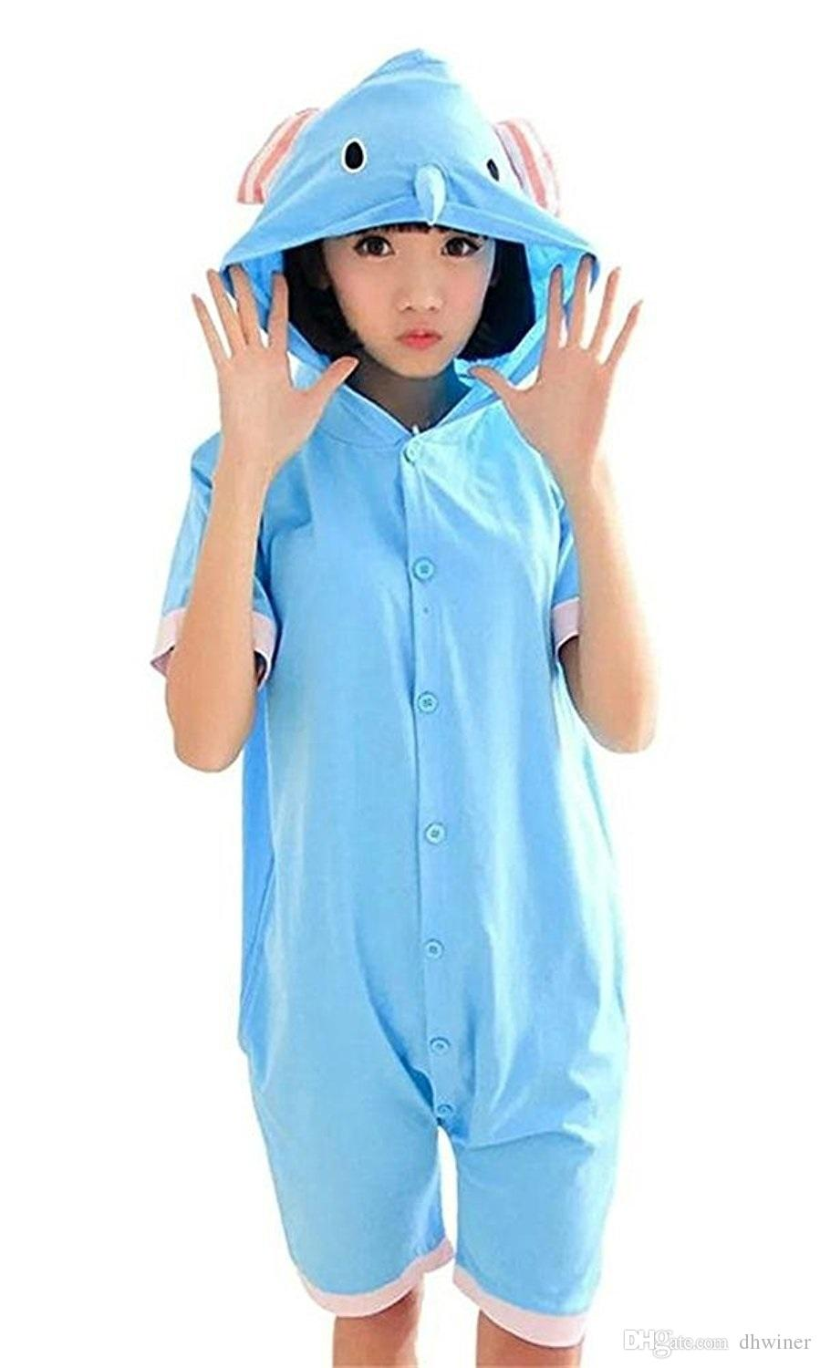 Unisex Adult Summer Short Sleeve Blue Bodysuit Romper One-Piece Outfit Costume Sleepwear Elephant
