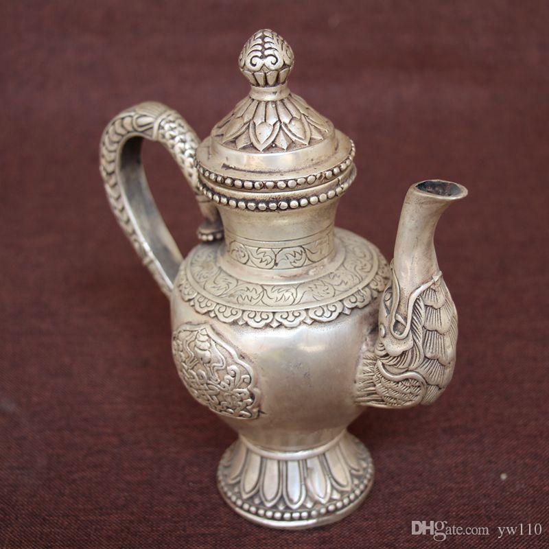 Archaize théière en laiton blanc pur manuel théière bouche de dragon