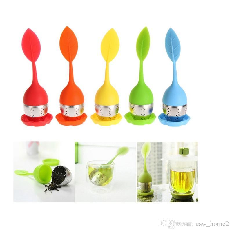 5 اللون الحلو ورقة زهرة سيليكون التحلل reusable مصفاة مع قطرة صينية الجدة الشاي الكرة العشبية سبايس تصفية الشاي أداة