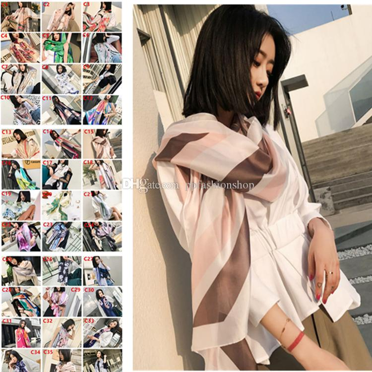 Luxo 40 cores seda cetim fino cachecol inverno lenço xaile mulher poncho bandana desenhista estolos