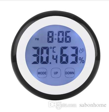 Hot Plastic Digital Temperature Humidity Time Function Wall Clock Indoor Weather Station Meter Tester LCD Backlight Clocks