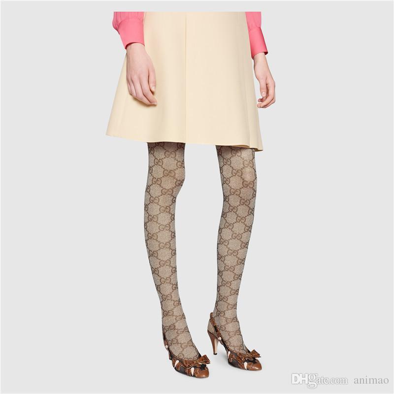 Início do outono carta completa meia-calça 2019 celebridade da web mesmo estilo europeu malha meia-calça alta elastic elástico longo leggings