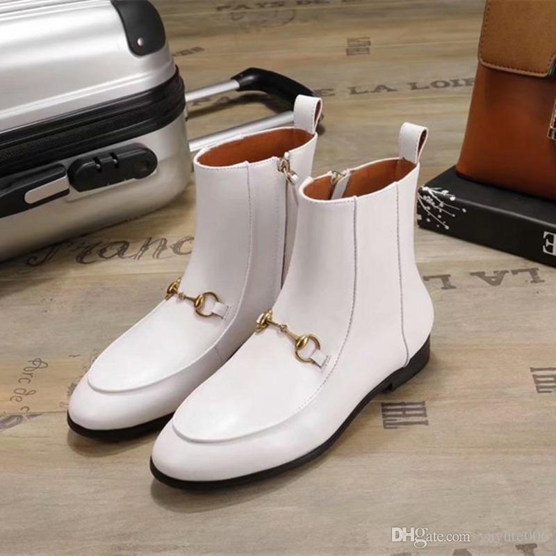 2018 Luxury Top Luxury Womens Ankle Boot Martin Winter Cow Leather Platform Ladies 75MM High Heels Casual Shoes Booties size 35-40