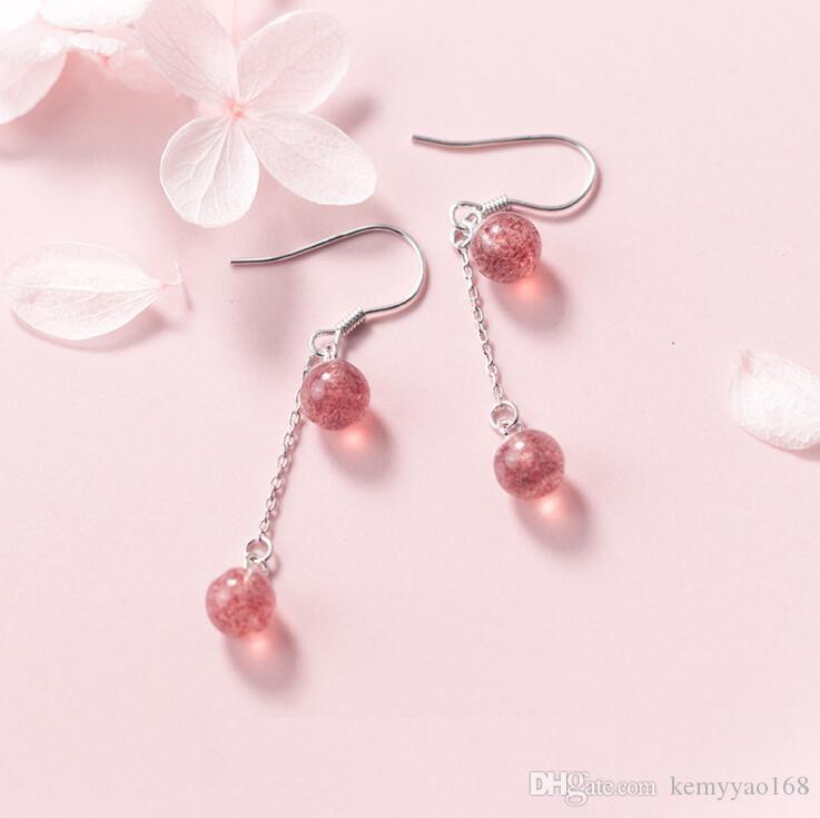 Pendientes de joyería fina 100% real Pendientes de plata de ley 925 con los pendientes de plata de piedra rosa de cristal fresa yh5100