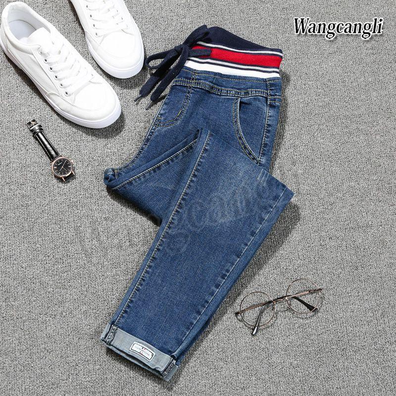 2018 primavera Jeans de mujeres de gran tamaño 5XL pies Harlan pantalones vaqueros Taille alta femme extranjeras nueve pantalones envío libre 013 #
